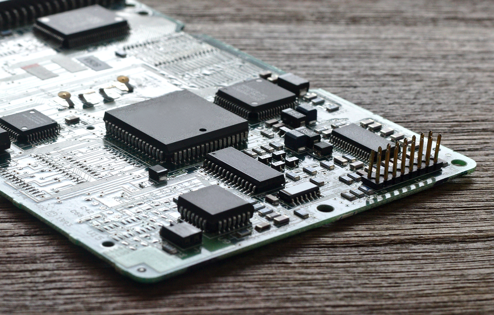 electrical circuit board with components